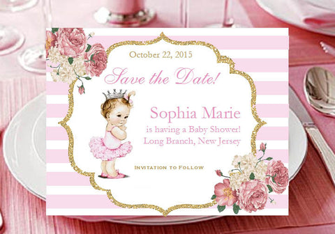 Princess Little Pink Gold Baby Shower Save the Date Cards