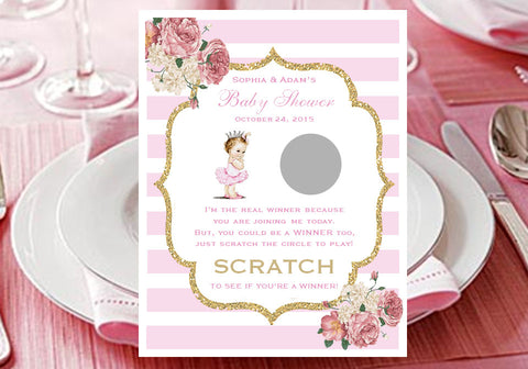 Princess Baby Little Pink Gold Shower Scratch Win Games Tickets