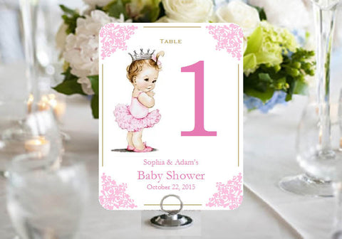 Princess Baby Little Pink Gold Baby Shower Table Number Cards