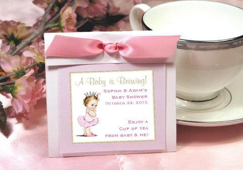 Princess Little Pink Gold Baby Shower Tea OR Coffee Favors