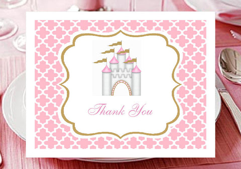 Princess Baby Little Pink Gold Baby Shower Thank You Cards Notes