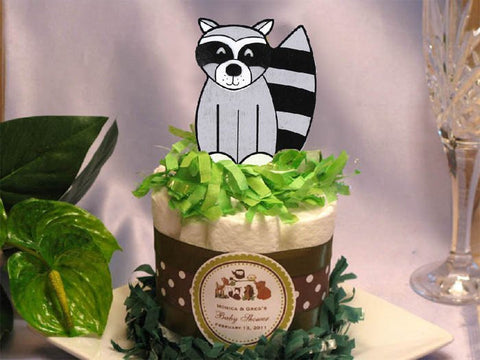 Woodland Creatures Forest Tall Raccoon Diaper Cake Centerpiece