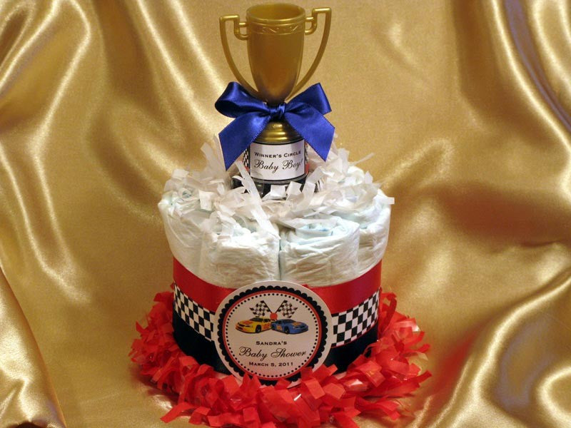 Baby Shower Race Racing Car Diaper Cake Centerpiece