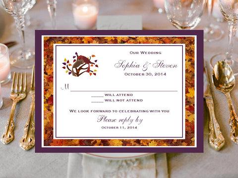 Autumn Fall Leaf Wedding Reception or Response Cards