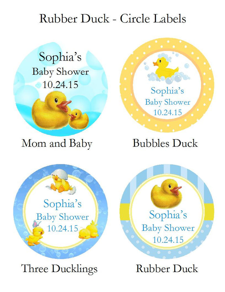 Duck Baby Shower Rubber Duck Round Favor Labels Stickers Pavia