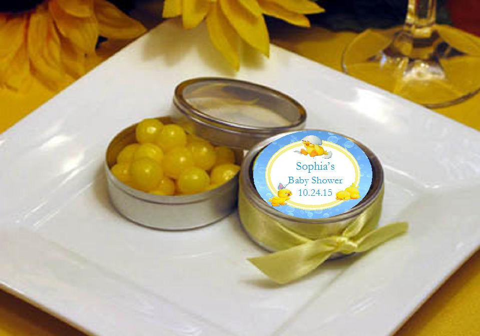 Duck Baby Shower Rubber Duck Round Favor Tins Pavia Party Favors