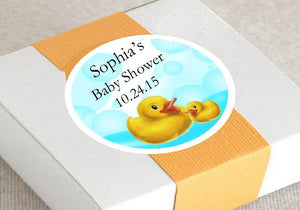 Duck Baby Shower Rubber Duck Round Favor Labels Stickers
