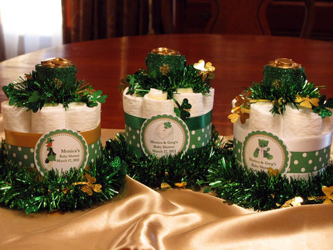 St. Patrick's Day Baby Shower Mini Diaper Cake Centerpieces