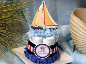 Baby Shower Sailboat Nautical Boat Diaper Cake Centerpiece