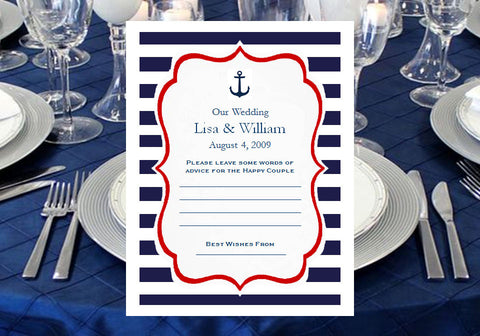 Sailing Nautical Wedding Bridal Advice Wish Cards