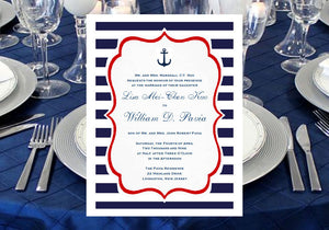 Sailing Nautical Wedding Bridal Menu Cards