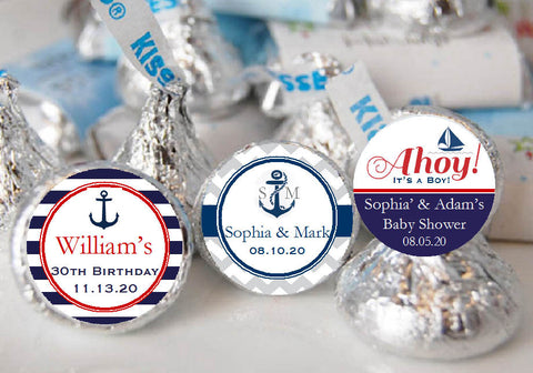 Sailing Nautical Wedding Kisses Candy Labels Stickers