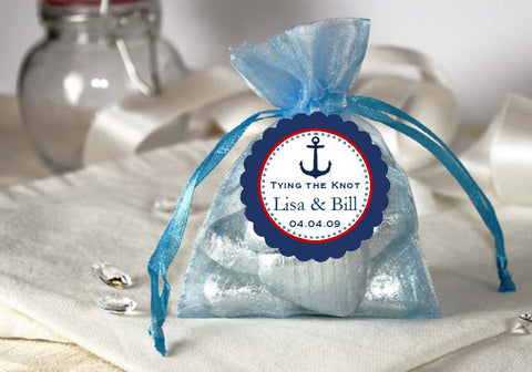 Sailing Nautical LIGHT BLUE Organza Fabric Favor Bags