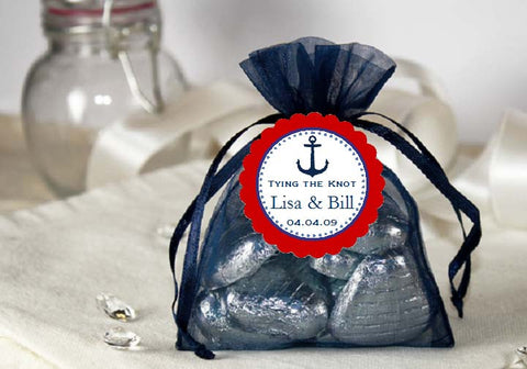 Sailing Nautical NAVY BLUE Organza Fabric Favor Bags