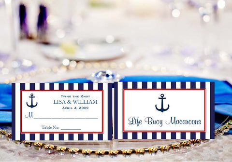 Sailing Nautical Wedding Buffet Escort Place Cards