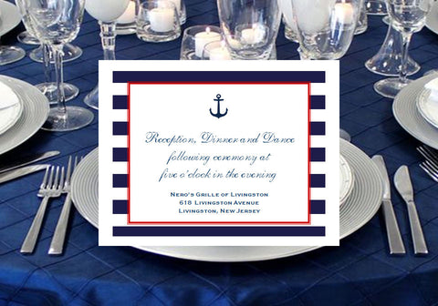 Sailing Nautical Wedding Bridal Reception Cards Notes