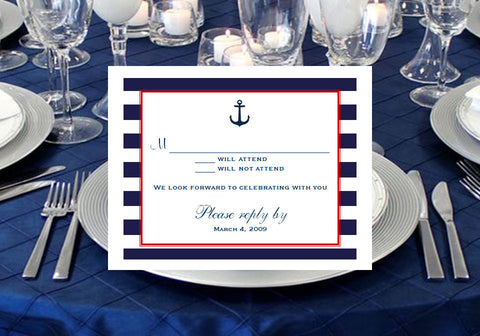 Sailing Nautical Wedding Bridal Response Cards Notes