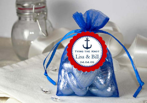 Sailing Nautical ROYAL BLUE Organza Fabric Favor Bags