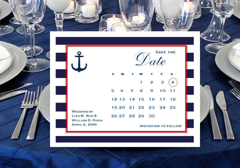 Sailing Nautical Wedding Bridal Save the Date Cards