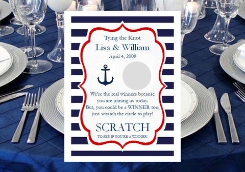 Sailing Nautical Wedding Bridal Scratch Off Games Tickets Cards
