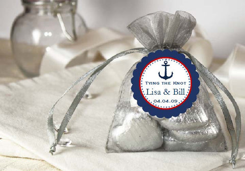 Sailing Nautical SILVER GRAY Organza Fabric Favor Bags
