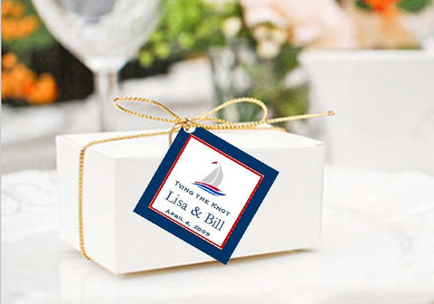 Sailing Nautical Wedding Square Favor Gift Tags