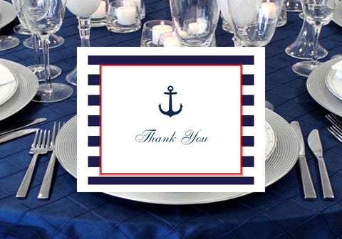 Sailing Nautical Wedding Bridal Thank You Cards Notes