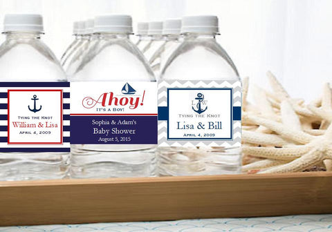 Sailing Nautical Wedding Bridal Baby Water Bottle Labels Stickers