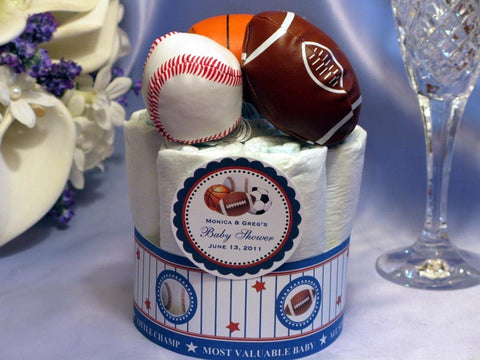 Baby Shower Sports Baseball Football Basketball Soccer Diaper Cake Centerpiece