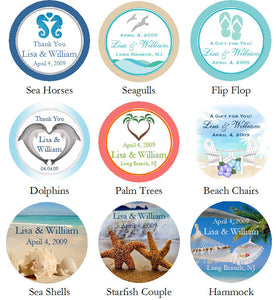 Summer Ocean Beach Tropical Kisses Stickers Labels