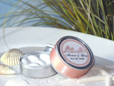 Summer Ocean Beach Wedding Round Favor Tins