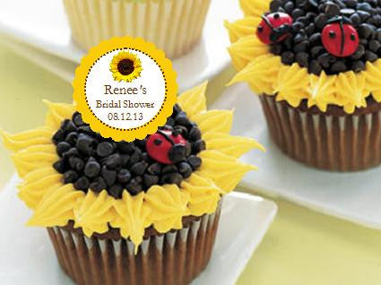 Sunflower Country Rustic Cupcake Toppers Decorations