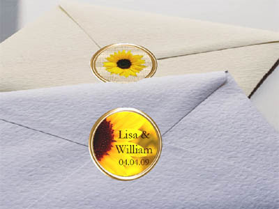 Sunflower Wedding Envelope Seals Labels Stickers