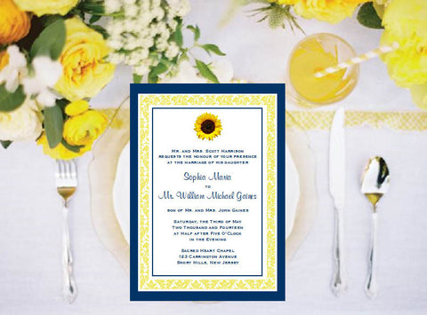 Sunflower Country Rustic Invitations Annoucements