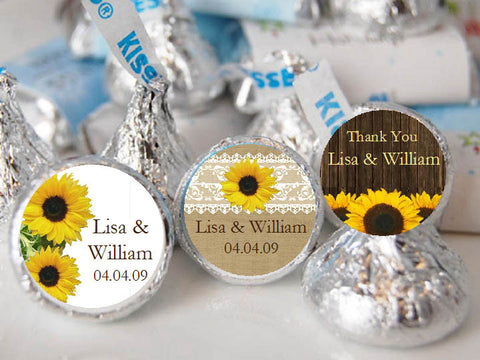 Sunflower Country Rustic Wedding Kisses Labels Stickers