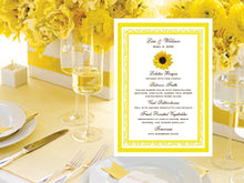 Sunflower Country Rustic Wedding Menu Cards