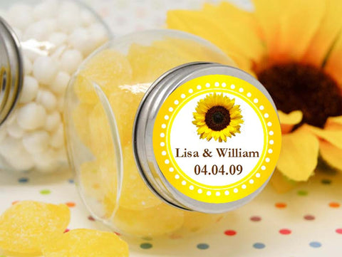 Sunflower Country Rustic Wedding Vintage Mini Glass candy jars