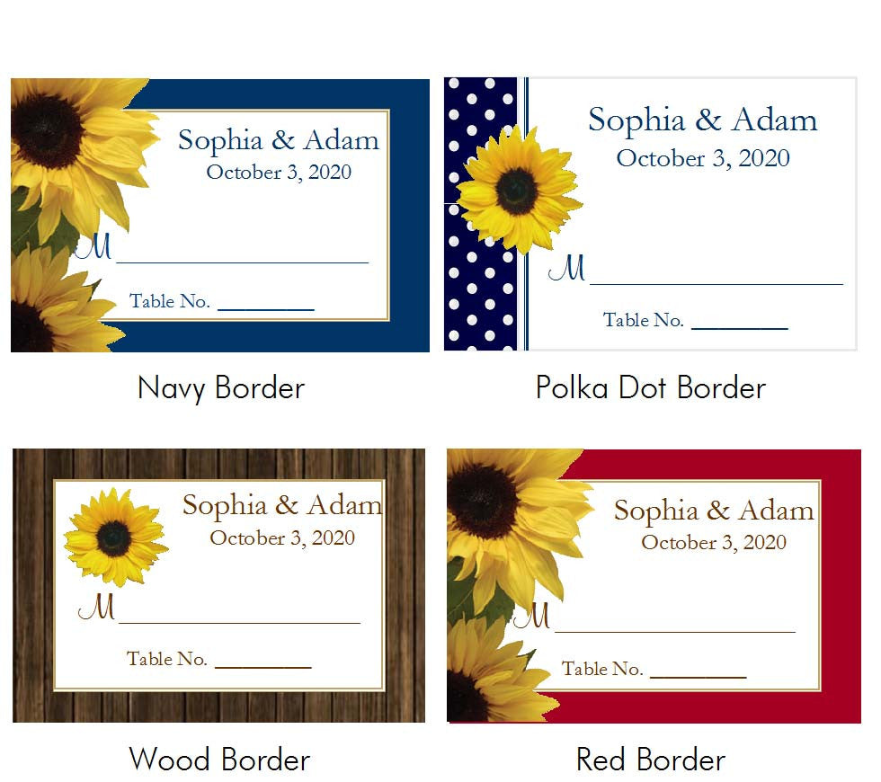 Sunflower Country Rustic Escort Buffet Place Cards
