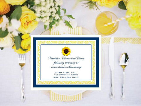 Sunflower Country Rustic Reception Cards Notes