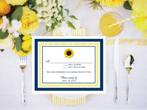 Sunflower Country Rustic Response Cards Notes