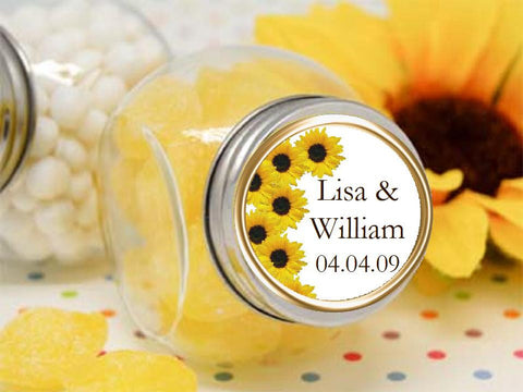 Sunflower Country Rustic Wedding round favor labels stickers
