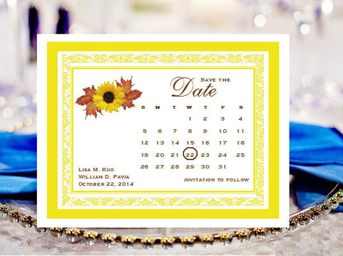 Sunflower Country Rustic Calender Save The Date Cards Notes