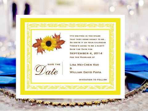 Sunflower Country Rustic Poem Save The Date Cards Notes