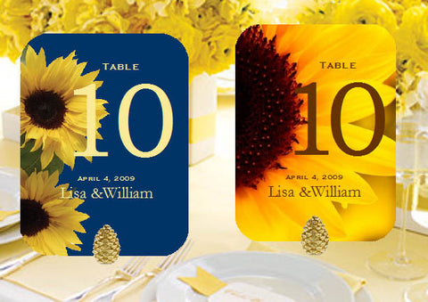 Sunflower Country Rustic Table Numbers Cards