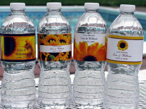 Sunflower Country Rustic Water Bottle Labels Stickers