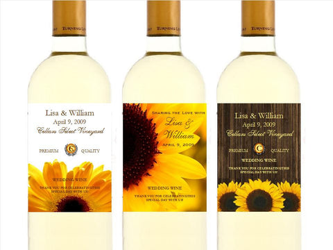 Sunflower Country Rustic Wedding wine bottle labels stickers