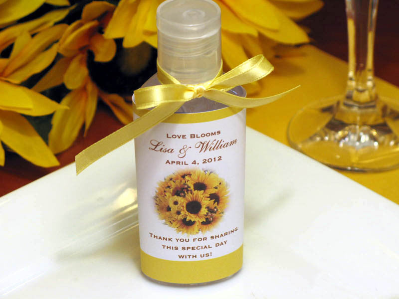 Sunflower Country Rustic Wedding Hand Sanitizer Favors Pavia Party