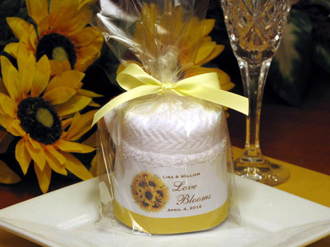 Sunflower Country Rustic Wedding towel cake favors