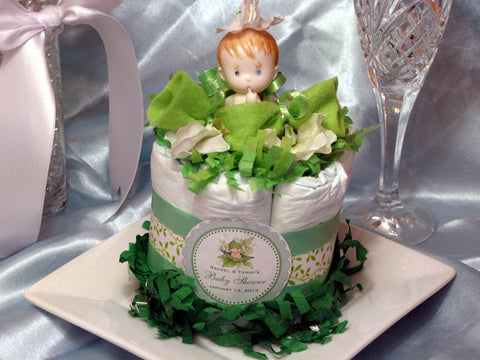 Baby Shower Sweet Pea Diaper Cake Centerpieces