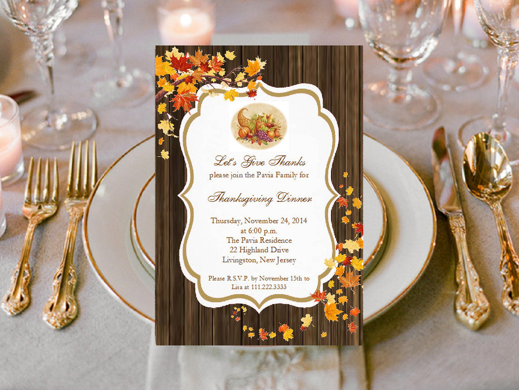 Thanksgiving Dinner Party Invitations Announcements – Pavia Party Favors